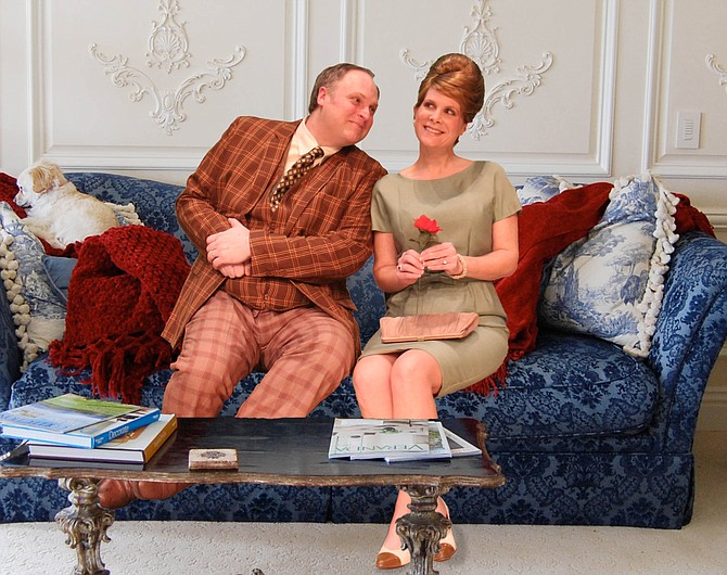 """Kerri Sanders (Rachel Crabbe), Joseph Frost (Francis Henshall) and David Lind (Stanley Stubbers) star in """"One Man, Two Guvnors,"""" which runs at New Stage Theatre Feb. 17 through March 1. Photo courtesy New Stage Theatre"""