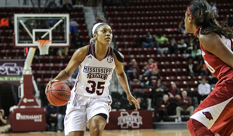 Mississippi State University women's basketball player Victoria Vivians received the Gillom Trophy, an award that goes to Mississippi's top female basketball player, on Monday, March 9. Photo courtesy MSU Athletics