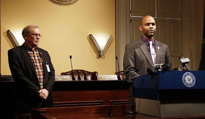 At a March 6 press conference, City Council President De'Keither (right) and Ward 1 Councilman Ashby Foote (left) vowed to investigate findings of an audit that found rampant fraud at the Water and Sewer Business Administration.