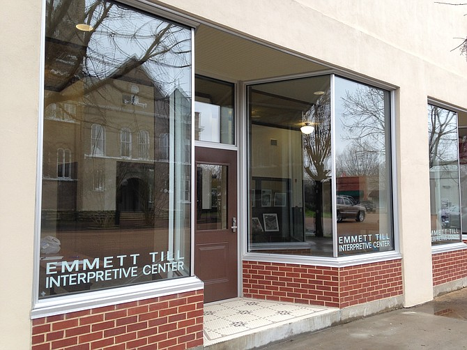 The Emmett Till Interpretive Center, housed in a glass-front former grocery store, currently houses a traveling exhibit from Delta State University that contains large, silk-screen panels detailing the 1955 trial based on newspaper accounts and a short introductory film about the trial. Photo courtesy Patrick Weems
