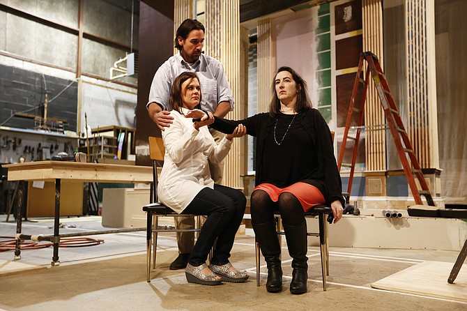 """In New Stage Theatre's production of Moises Kaufman's """"33 Variations,"""" which is about composer Ludwig van Beethoven, Drew Stark (top left) plays Mike Clark, Ali Dinkins (bottom left) plays Clara Brandt, and Francine Thomas Reynolds (right) is Dr. Katherine Brandt."""