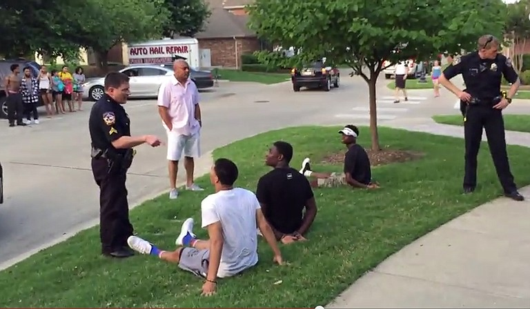 The incident began when officers responded Friday night to a report of a disturbance involving a group of black youths at a neighborhood pool party. Photo courtesy YouTube