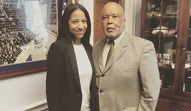 LeMia Jenkins (left) and Congressman Bennie Thompson (right) Photo courtesy LeMia Jenkins