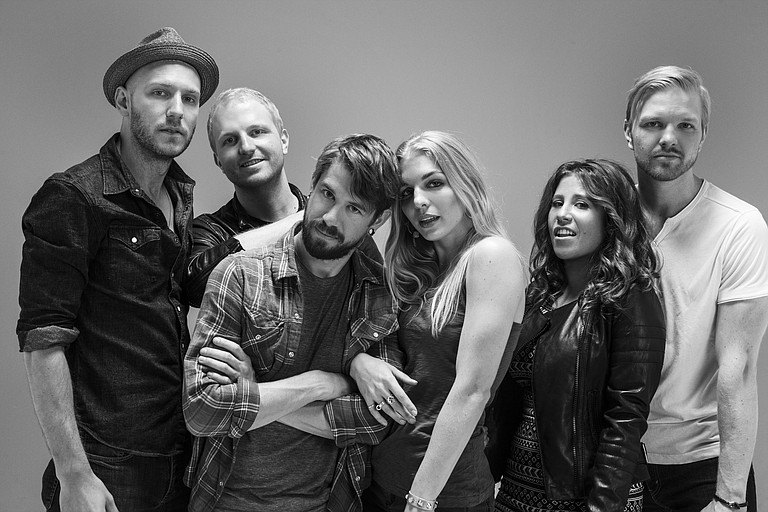 (Left to right) Mike McKee, Ian Hoelljes, Grant Emerson, Brittany Hoelljes, Elizabeth Hopkins and Eric Hoelljes of Delta Rae perform Monday, July 20, at Duling Hall. Photo courtesy Delta Rae