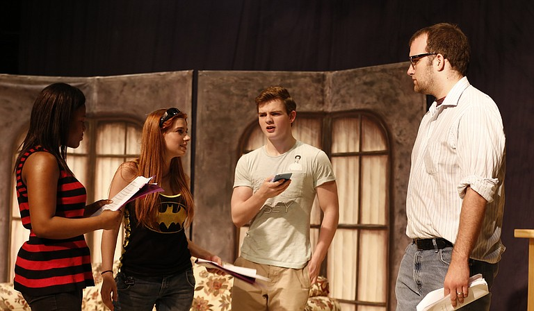 """One of the plays in Black Rose Theatre's """"A Night of One Acts by Local Playwrights"""" is Becky Martin's """"Deja Brew,"""" which stars (left to right) Morgan Hannah, Samantha Gregory, Sam Furman and Curtis Everitt."""