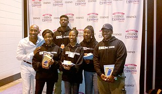 Grand Prize Winners of the #YesWeCode Essence Fest Hackathon: Devon McNeil (Provine High School), Ariel Dille (Provine High School), Rachael Griffin (Bailey APAC), Zadarius Macklin (Provine High School), Elexis Daniels (Terry High School), GECC - Sadie Harris, Provine High School Teacher - Team Chaperone Photo courtesy TECHJXN