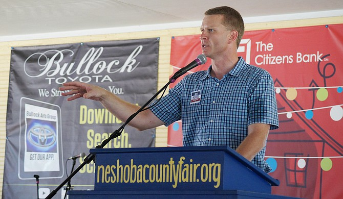 Mike Hurst, Republican candidate for Mississippi attorney general, speaking on Wednesday July 29, 2015 at the Neshoba County Fair.