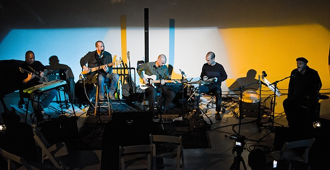 (From second left to right) Joey Plunkett, Vince Johnston, Ky Johnston and Adib Sabir of Paperclip Scientists perform with guest musician Daniel Karlish (first left). Photo courtesy Valerie Crancer