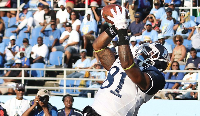 Despite good showings from players such as wide receiver Daniel Williams (pictured) on the offense, Jackson State University has had a tough run in its first three games of the season. Photo courtesy Charles A Smith