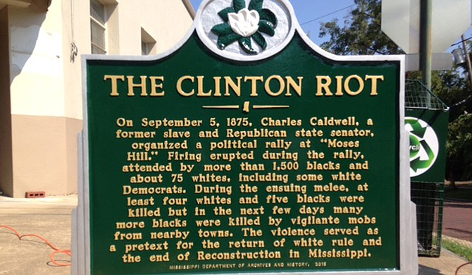 The City of Clinton is acknowledging a bloody race massacre from its past with this historic marker. Photo courtesy Missy Jones