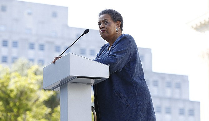 Myrlie Evers-Williams, a former NAACP chairwoman and widow of Medgar Evers, told rally participants that if Gen. Robert E. Lee recognized the divisiveness of a Confederate symbol that is a part of the Mississippi state flag, then so should Mississippians.
