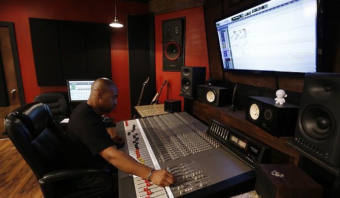 Audio engineer Leroy Jones Jr. at work in his Jackson studio, Sonic Signature.
