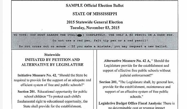 Mississippi voters rejected any change to the state constitution to bolster public school funding, defeating Initiative 42 on Tuesday.