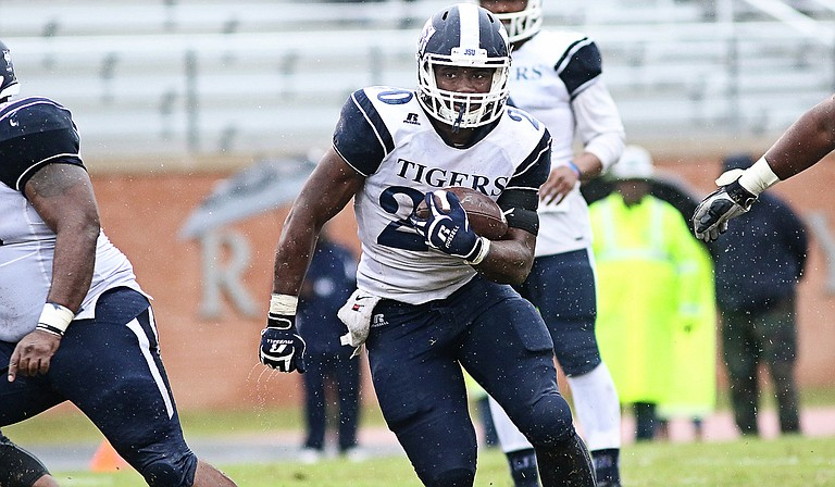 The Jackson State University Tigers are currently in third place in the SWAC East, with Alcorn State University and Alabama State University ahead of them (pictured is JSU running back Robert Johnson). Photo courtesy JSU Athletics