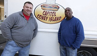 Rob Lehman (left) and Al Brown (right) began Capitol Coney Island earlier this year. Capitol Coney Island has dishes such as chili dogs. Photo courtesy Imani Khayyam/ Capitol Coney Island
