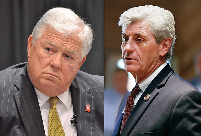 Former Gov. Haley Barbour (left) and current Gov. Phil Bryant (right) are defendants in the Troupe v. Barbour case, filed on behalf of children who are not receiving mental-health care services the law entitles them to. File Photo/Trip Burns; Imani Khayyam