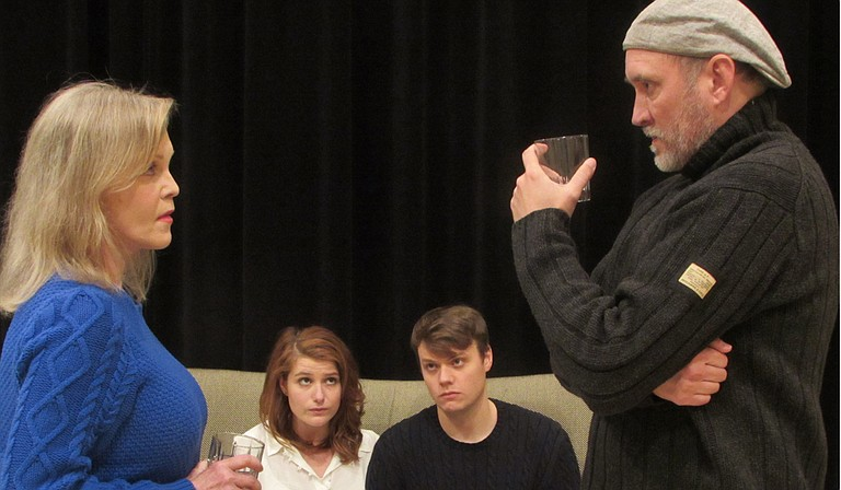 """(From left to right) JoAnn Robinson (Martha), Annie Cleveland (Honey), David Lind (Nick) and Cullen Douglas (George) rehearse for New Stage Theatre's """"Who's Afraid of Virginia Woolf?"""" Photo courtesy New Stage Theatre"""