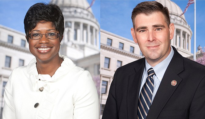 """Rep. Adrienne Wooten, D-Ridgeland (left), argued against the """"Mississippi Church Protection Act,"""" asking Rep. Andy Gipson, R-Braxton (right), how many instances of violence have occurred in Mississippi; Gipson had no answer. Photo courtesy Mississippi Legislature"""