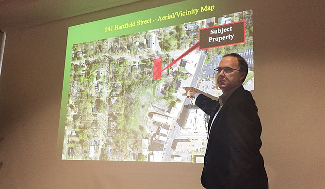 Attorney Robert Hutchison points out the property on Hartfield where the alternative entrance will be for the Jackson Planning Commission. Photo courtesy Tim Summers Jr.