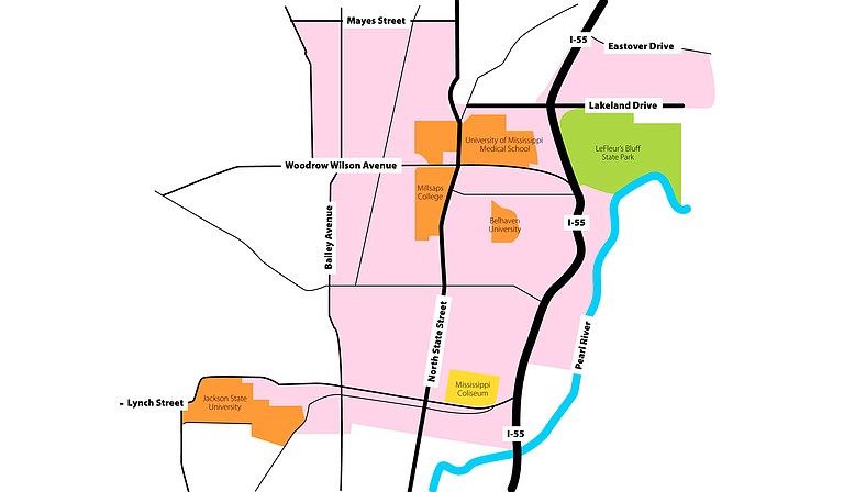 The Capitol Complex project will benefit a large section of downtown, as well as the University of Mississippi Medical Center, Jackson State University, Fondren and Belhaven. Affected areas are colored in pink. Photo courtesy Kristin Brenemen