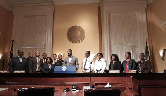 Mayor Tony Yarber stands with a sampling of the 30-member Criminal Justice Reform Task Force.