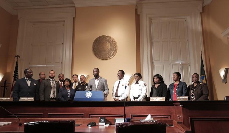 Mayor Tony Yarber stands with a sampling of the 30-member Criminal Justice Reform Task Force.
