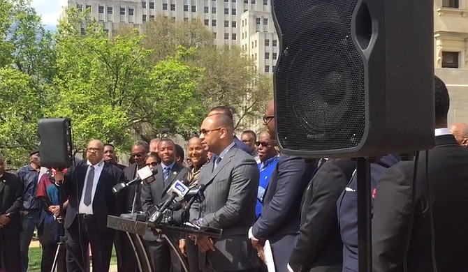 Attorney Carlos Moore spoke at the #StraightOuttaPatience rally at the State Capitol, calling on Gov. Phil Bryant to change the state flag. Photo courtesy Onelia Hawa