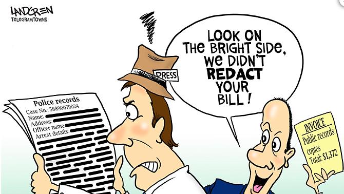 Cartoon by Don Landgren, Worcester Telegram & Gazette for Sunshine Week