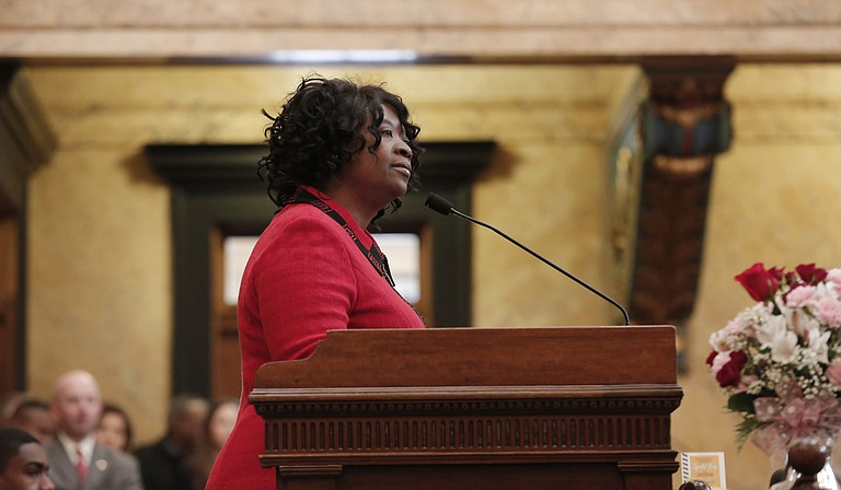 Rep. Omeria Scott, D-Laurel, questioned House Public Health Committee Chairman Sam Mims, R-McComb, about a program in the Division of Medicaid's appropriations bill, which sparked a controversial amendment last week.