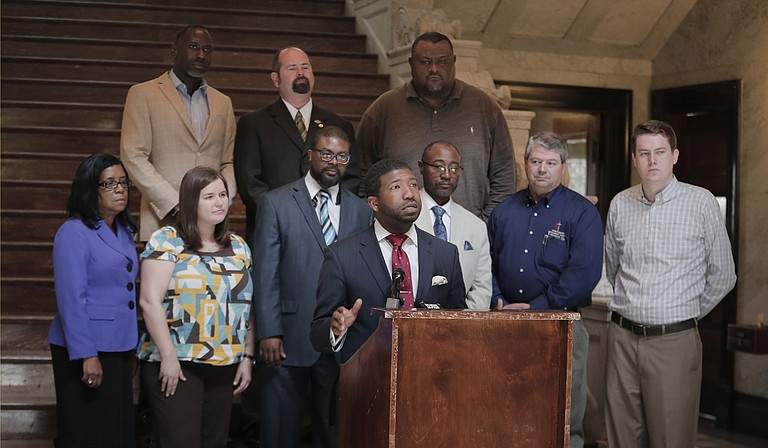 Rev. CJ Rhodes, who is president of Clergy for Prison Reform, speaks at the Mississippi Capitol on Wednesday, March 16, 2016, calling for an overhaul of incarceration practices in the state.