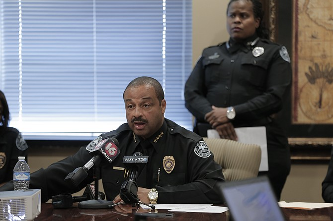 Jackson Police Chief Lee Vance held a press conference March 23 to dispel rumors about JPD's involvement in Monday nights deadly police pursuit. Photo by Imani Khayyam.