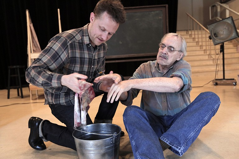 "In New Stage Theatre's ""Red,"" Cliff Miller (left) plays Ken, Mark Rothko's assistant, and John Maxwell (right) plays Rothko."