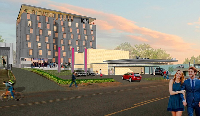 This early rendering of The Fondren hotel depicts the historic Kolb's Cleaners building that will become the front entrance and lobby of the hotel. Photo courtesy Duvall Decker Architects