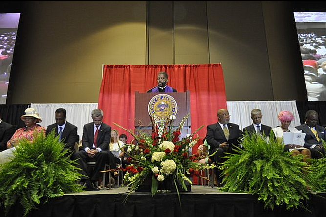 """Former JMAA Commissioner Jeffery Stallworth filed the first lawsuit over the State's airport """"takeover"""" law. He is pictured here in 2013. Chokwe Lumumba, who appointed him to the commission is also pictured, second to his left. File Photo"""