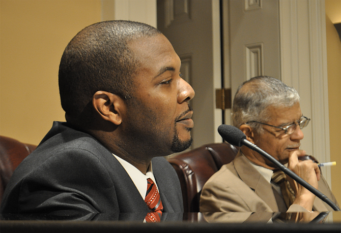 Synarus Green (left) was Mayor Chokwe Lumumba's chief administrative officer. Now he's running for the Mississippi Legislature. The late mayor is pictured on the right.