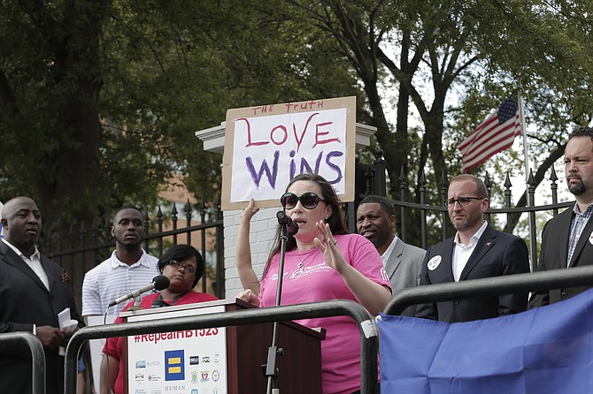 Felicia Brown-Williams, director of public policy at Planned Parenthood Southeast, spoke out against Senate Bill 2238, urging the governor to veto the bill at a rally on May 1; Gov. Bryant signed the bill on May 10.