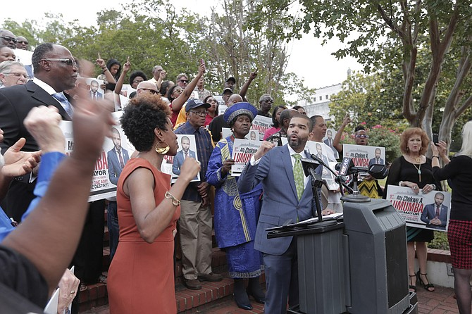 "Chokwe A. Lumumba announced his candidacy this afternoon, promising a campaign focused on ""the people's platform."""