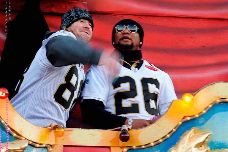 Jeremy Shockey (left) and Deuce McAllister (right) Photo courtesy Tulane Public Relations