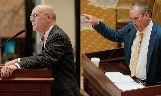 Sen. Hob Bryan (left), D-Amory, asked for answers from the governor's office on the Senate floor about why budget holes and their cause were not addressed sooner in the session. Rep. Herb Frierson (right), R-Poplarville, told House members that the governor can only use SB 2001 to spend the money that the Legislature appropriated in their fiscal-year 2016 budget.