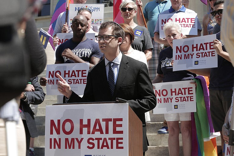 Rabbi Jeremy Simons showed up at the Mississippi Capitol to speak against House Bill 1523 the morning after Judge Carlton Reeves struck it down.