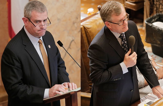 Rep. Jay Hughes, D-Oxford (right), sued House Speaker Philip Gunn, R-Clinton (left), for reading House bills at an incomprehensible speed, which Hughes says violates the state's Constitution.