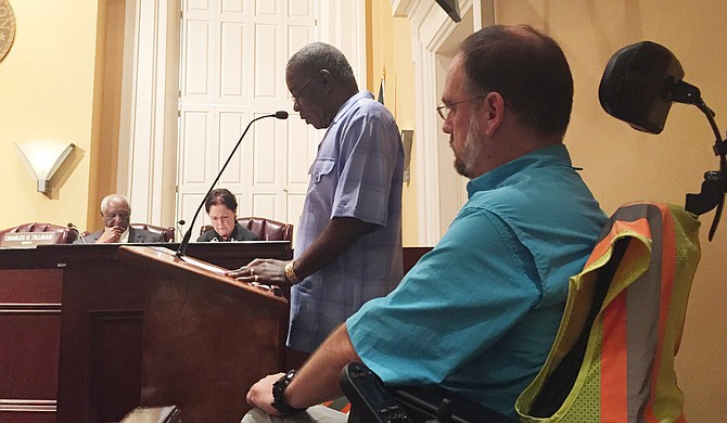 Dr. Scott Crawford waits his turn to speak to the Jackson City Council about accessibility for people with disabilities during the July 22 Planning Committee meeting.
