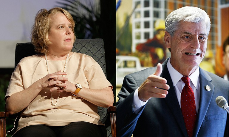 The Alliance Defending Freedom is representing Gov. Phil Bryant (right), who has appealed the House Bill 1523 case to the 5th U.S. Circuit Court of Appeals.  Attorney Roberta Kaplan (left) revealed ADF's influence on HB 1523 via a records request for the governor's emails about the law.