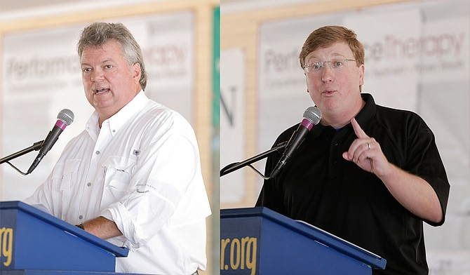 Attorney General Jim Hood (left) and Lt. Gov. Tate Reeves (right) squared off in their speeches at the Neshoba County Fair on Wednesday.