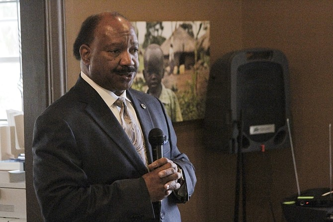 Hinds County Supervisor Robert Graham, declared Jackson mayoral candidate, spoke to the weekly Friday Forum on July 29 about the advantages he believes Continental Tire will bring to the area.