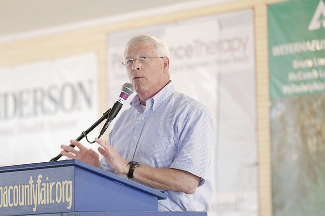 U.S. Sen. Roger Wicker, R-Miss., encouraged fairgoers at the Neshoba County Fair to vote for Republican senators and not for Hillary Clinton in the upcoming November election.