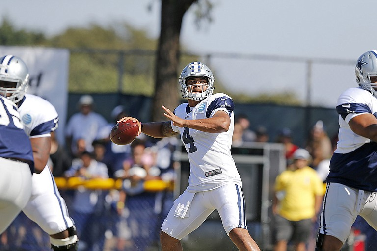 Mississippi State alumnus and rookie quarterback for the Dallas Cowboys Dak Prescott will likely get playing time in the Cowboys' preseason opener on Saturday against the L.A. Rams. Photo courtesy James D. Smith/Dallas Cowboys
