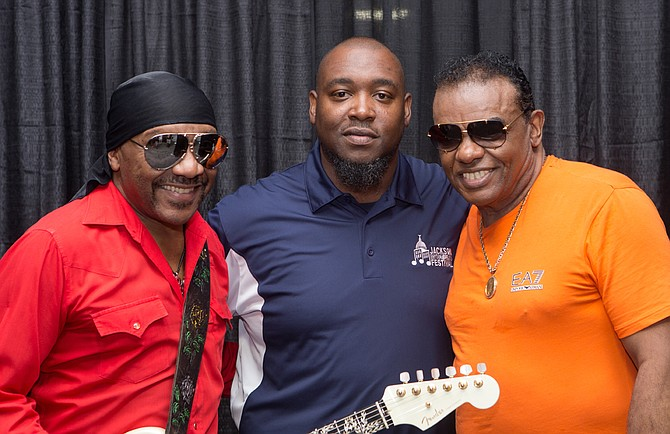 (Left to right) Ernie Isley, Festival Coordinator Alex Thomas and Ronald Isley pose at the 2015 Jackson Rhythm and Blues Festival, which takes place Aug. 19-20 at the Jackson Convention Complex this year. Photo courtesy Jackson Rhythm and Blues Festival/ Tate K. Nations
