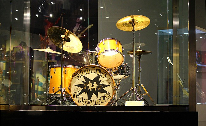 """""""Pride & Joy: The Texas Blues of Stevie Ray Vaughan"""" has memorabilia such as this drum set from the late blues-rock musician. Photo courtesy GRAMMY Museum Mississippi/Vickie Jackson"""