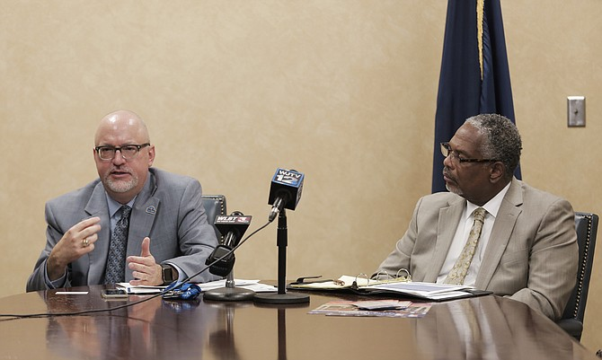 Dr. David Walker (left), director of the G.V. Sonny Montgomery Medical Center, and Darryl Brady (right), director of the Jackson VA Regional Office, held a press conference in July to announce national directives to change their offices under the U.S. Department of Veterans Affairs' guidance.